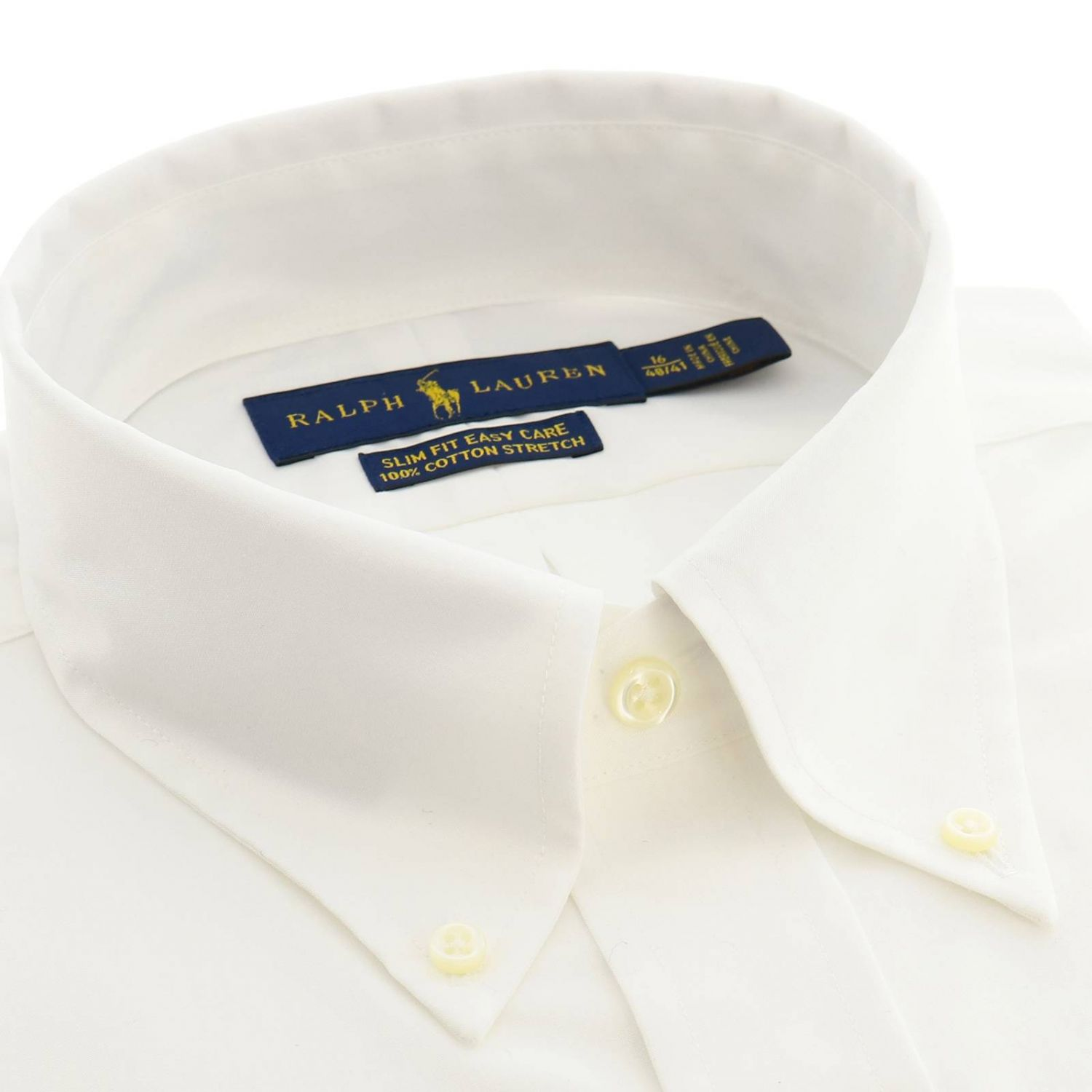 Easy care slim fit shirt with button down collar and Polo Ralph Lauren logo white 2