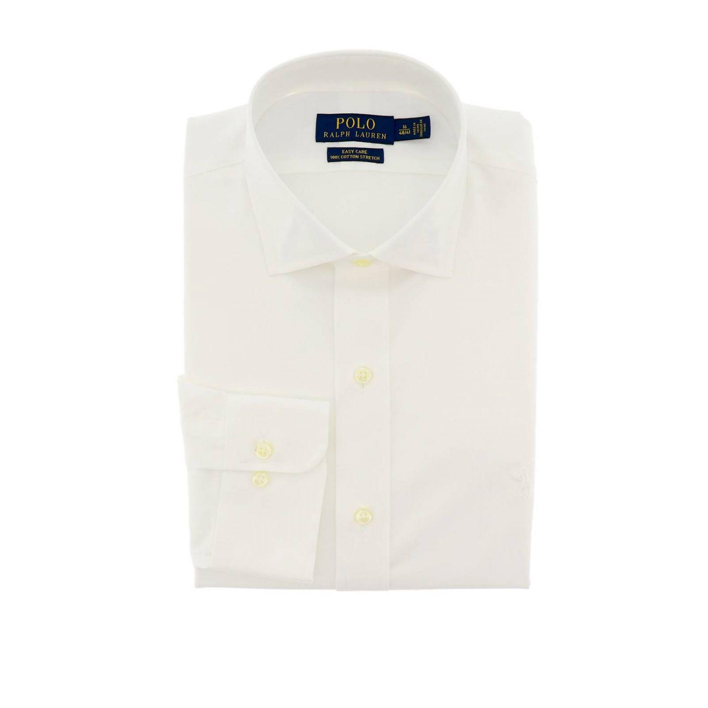Custom fit shirt with Italian collar and Polo Ralph Lauren logo white 1