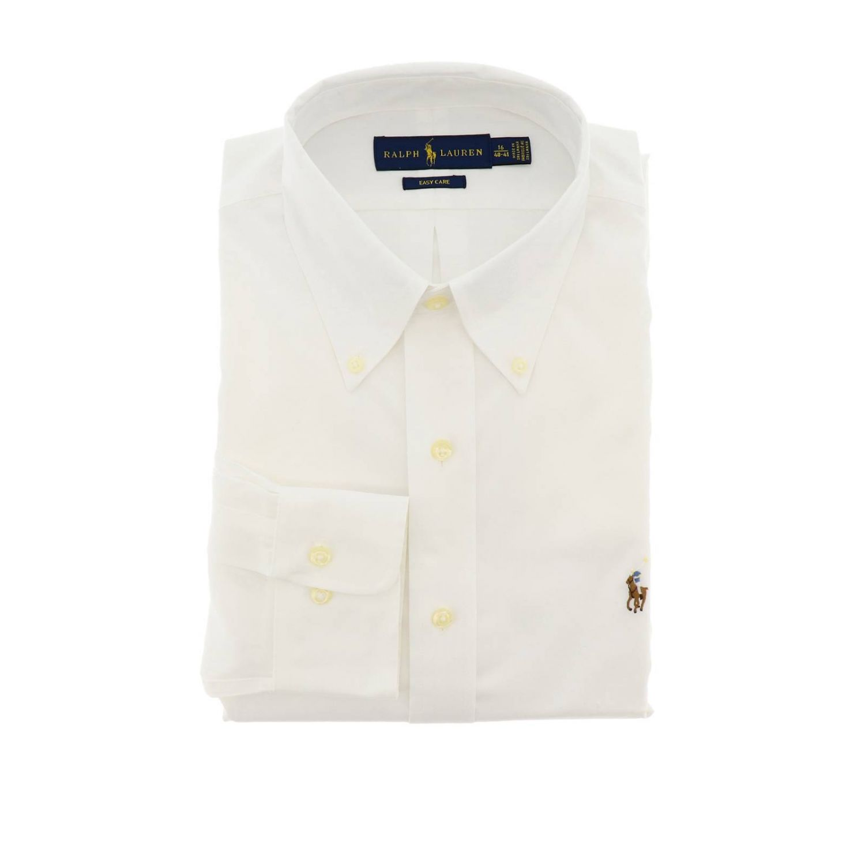 Camicia custom fit no iron con collo button down e logo Polo Ralph Lauren bianco 1