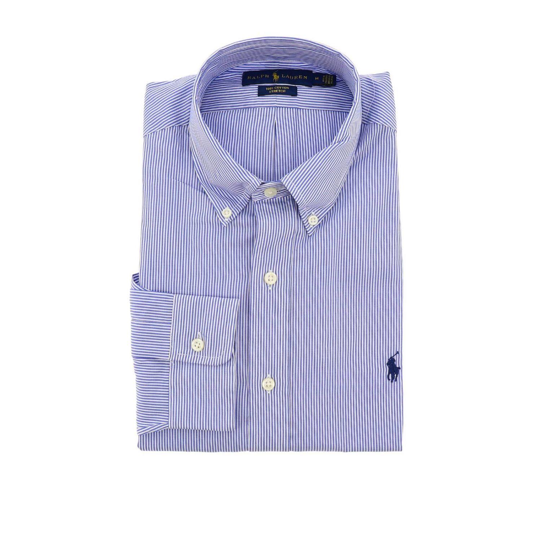 Polo Ralph Lauren logo印花纽扣领府绸衬衫 浅蓝色 1
