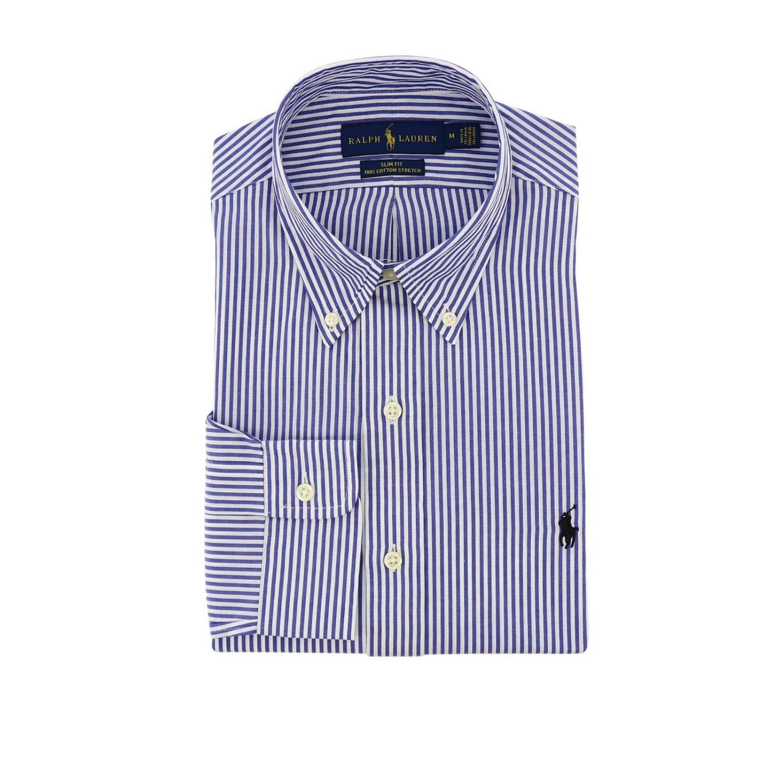 Chemise slim fit en popeline avec col button down et logo Polo Ralph Lauren bleu 1