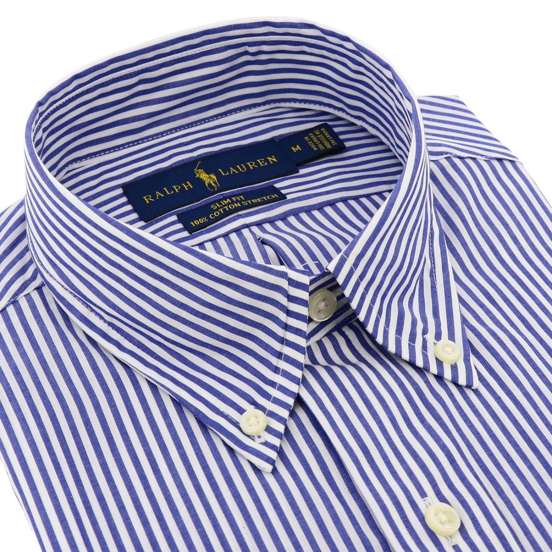 Chemise slim fit en popeline avec col button down et logo Polo Ralph Lauren bleu 2