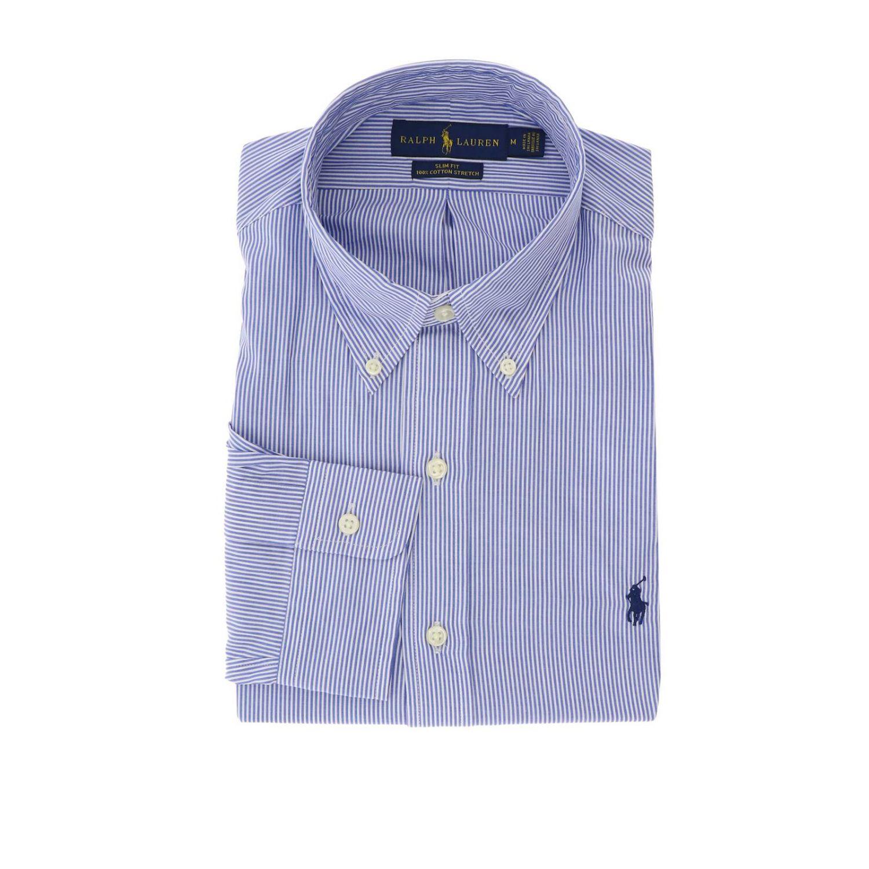 Camicia slim fit in popeline con collo button down e logo Polo Ralph Lauren azzurro 1