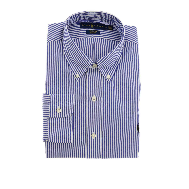 Camicia custom fit stretch con collo button down e logo Polo Ralph Lauren blue 1