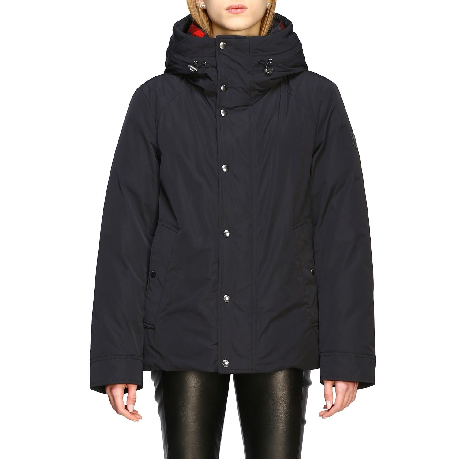 Boundry jacket nylon medio con cappuccio check nero 1