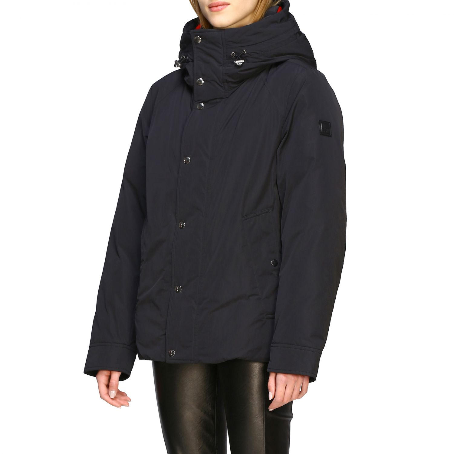 Boundry jacket nylon medio con cappuccio check nero 4