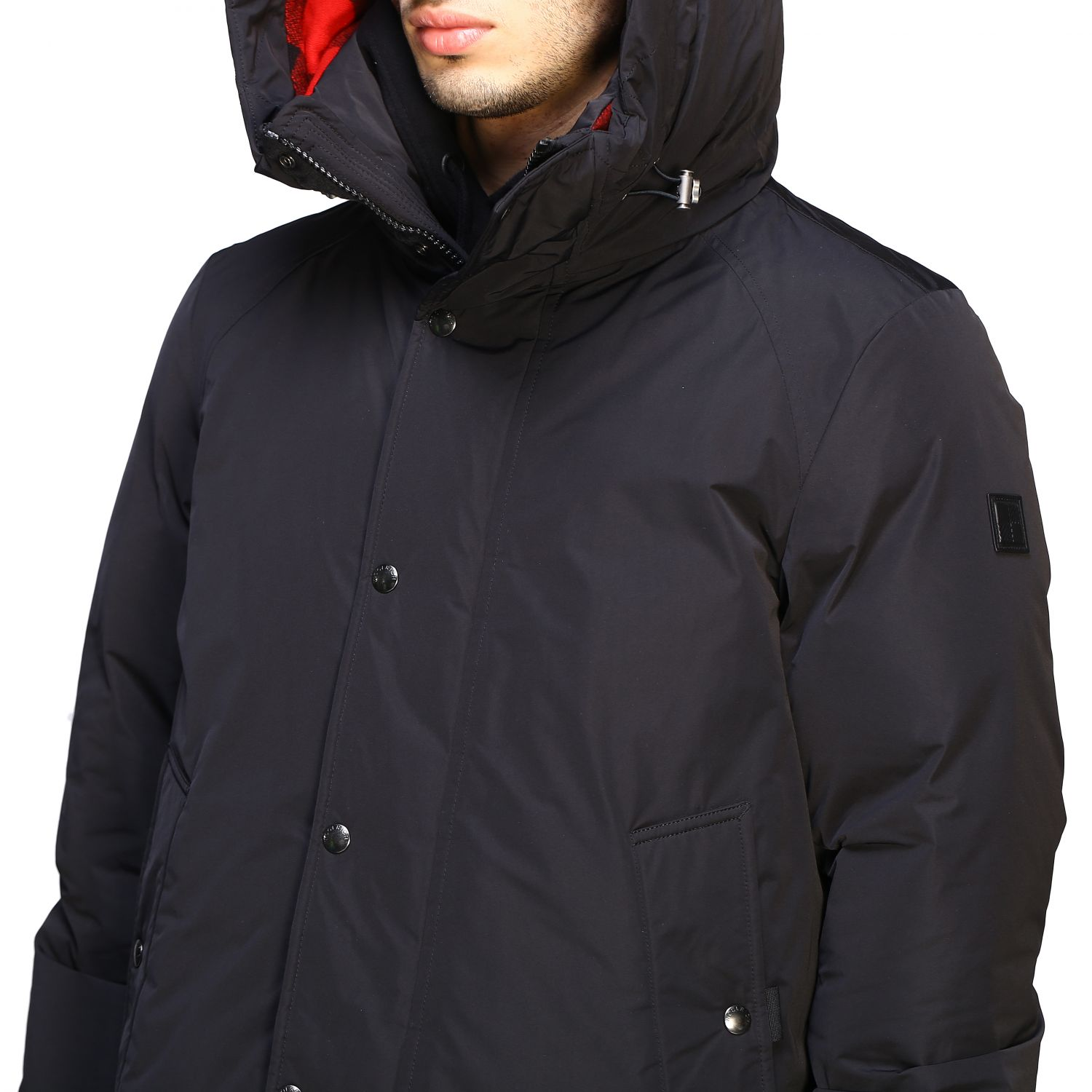 Boundry jacket nylon medio con cappuccio check nero 5