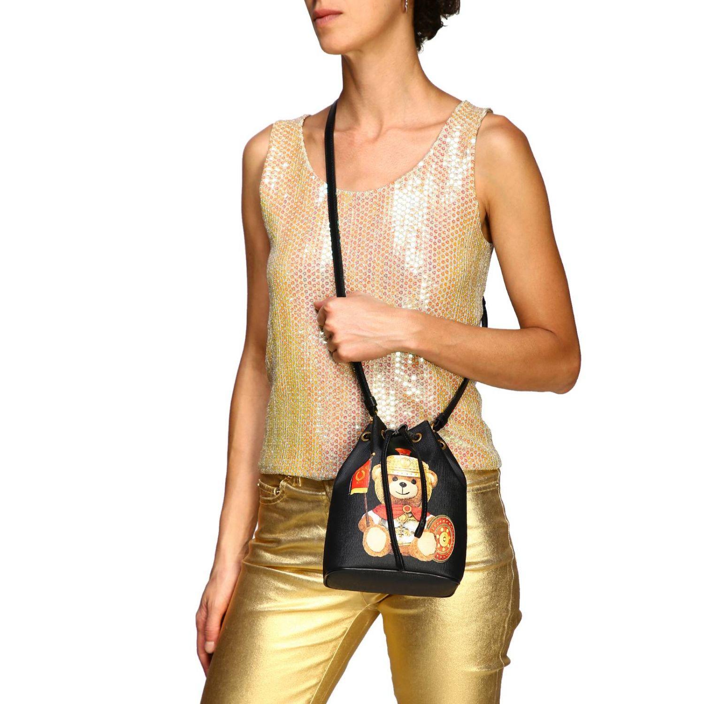 Sac seau Moschino Couture en cuir synthétique avec Teddy gladiateur noir 2