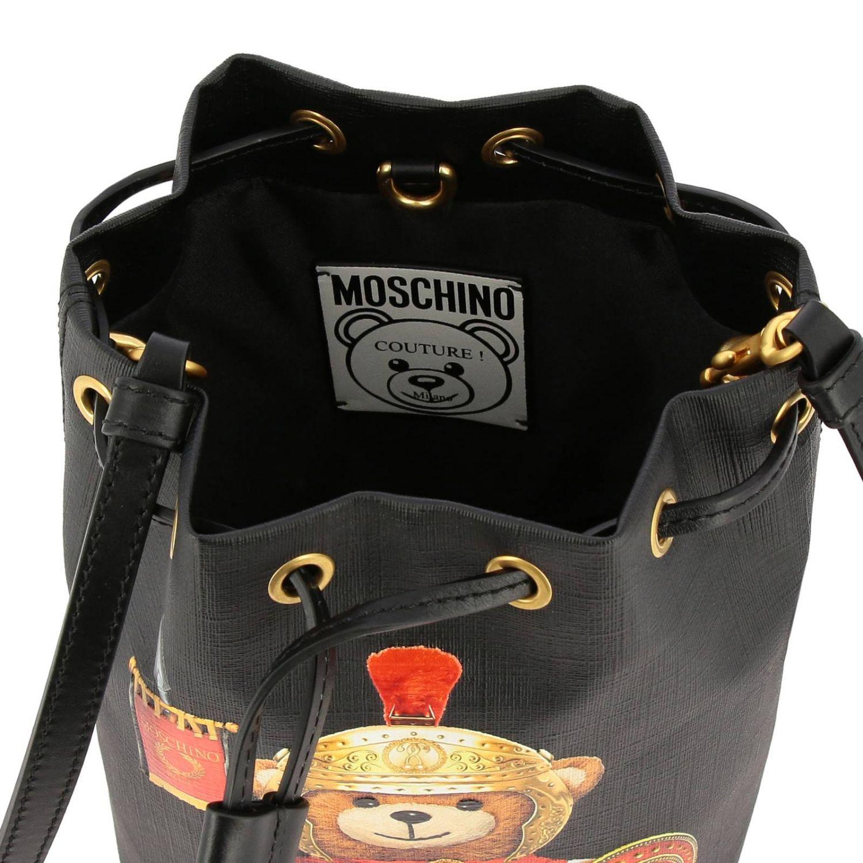 Sac seau Moschino Couture en cuir synthétique avec Teddy gladiateur noir 5