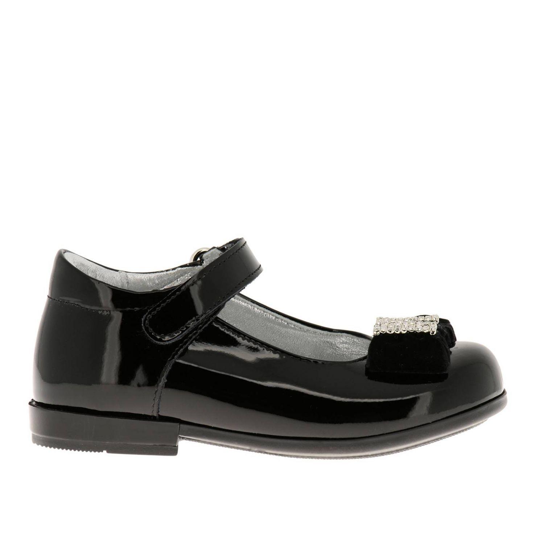 Chaussures Monnalisa: Ballerines Monnalisa en cuir verni avec maxi nœud en velours et monogramme en strass noir 1