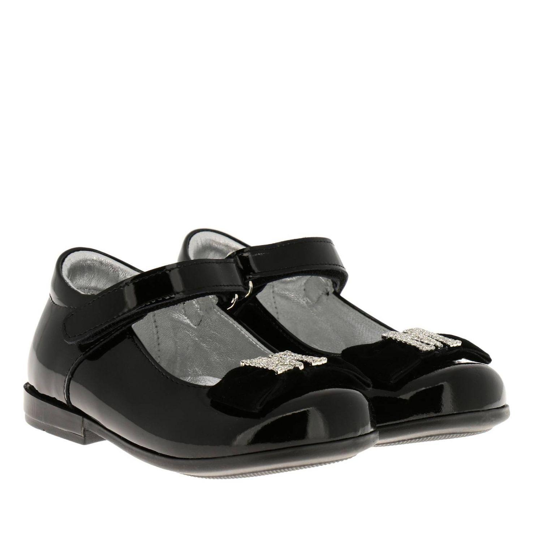 Chaussures Monnalisa: Ballerines Monnalisa en cuir verni avec maxi nœud en velours et monogramme en strass noir 2