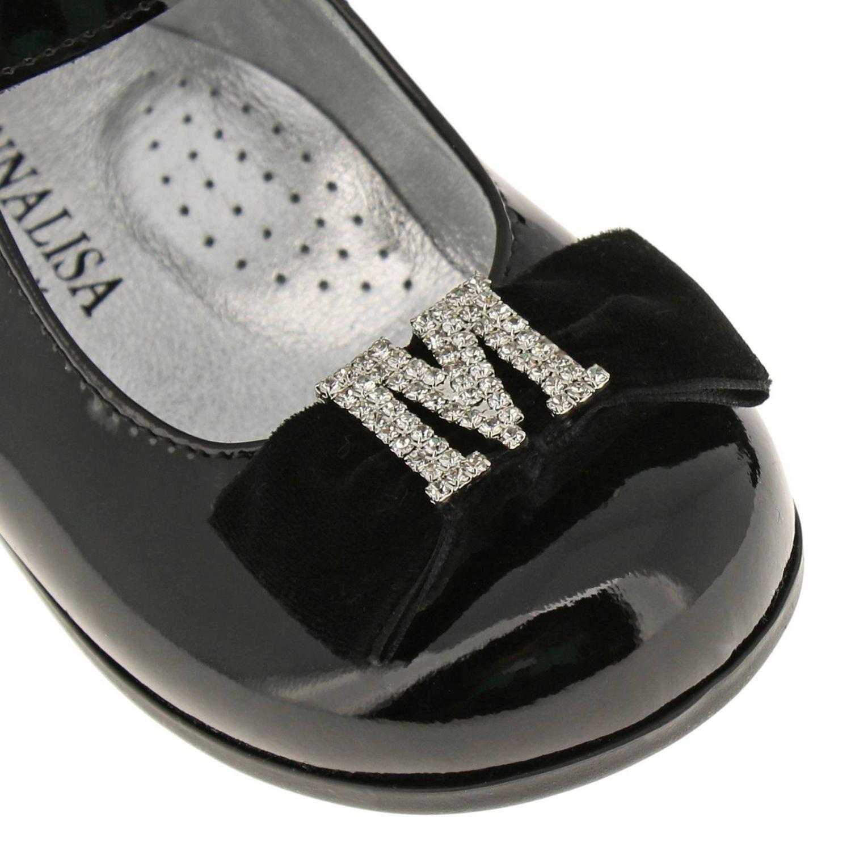 Chaussures Monnalisa: Ballerines Monnalisa en cuir verni avec maxi nœud en velours et monogramme en strass noir 3