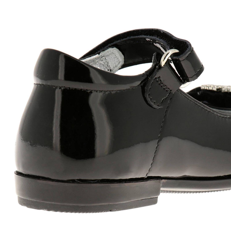 Chaussures Monnalisa: Ballerines Monnalisa en cuir verni avec maxi nœud en velours et monogramme en strass noir 4
