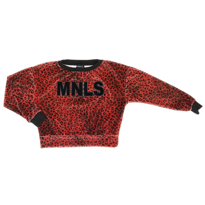 Felpa Monnalisa in velluto animalier con maxi monogramma MNLS rosso 1