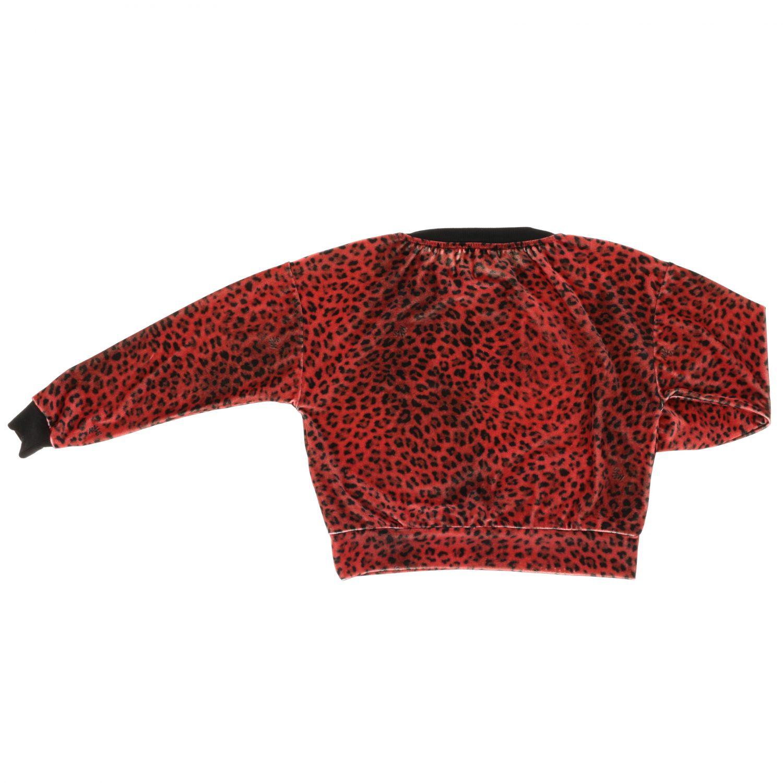 Felpa Monnalisa in velluto animalier con maxi monogramma MNLS rosso 2