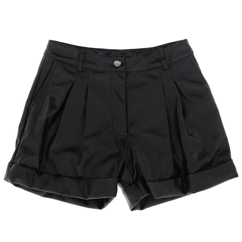Shorts Monnalisa in pelle sintetica nero 1