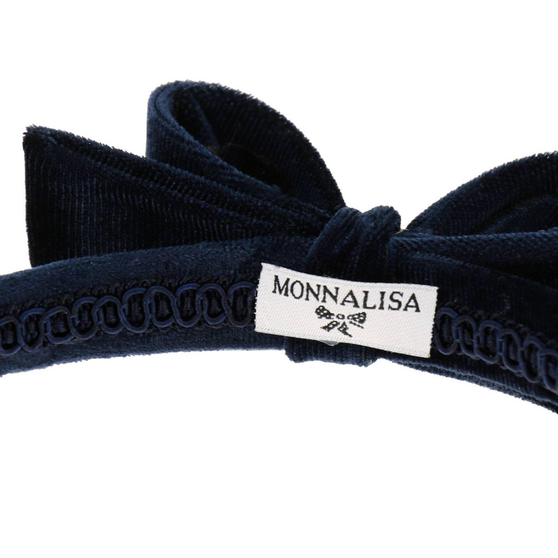 Cerchietto Monnalisa in velluto con maxi fiocco blue 2