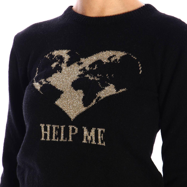 Maglia Alberta Ferretti: Pullover Alberta Ferretti a girocollo con ricamo lurex help me nero 4