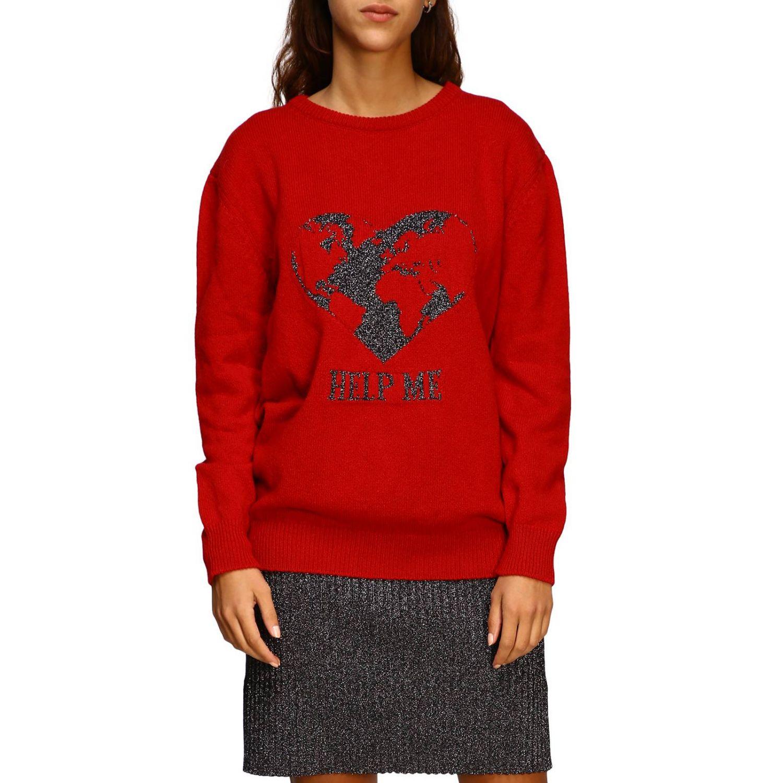 Sweater Alberta Ferretti: Alberta Ferretti crew-neck pullover with lurex embroidery help me red 1