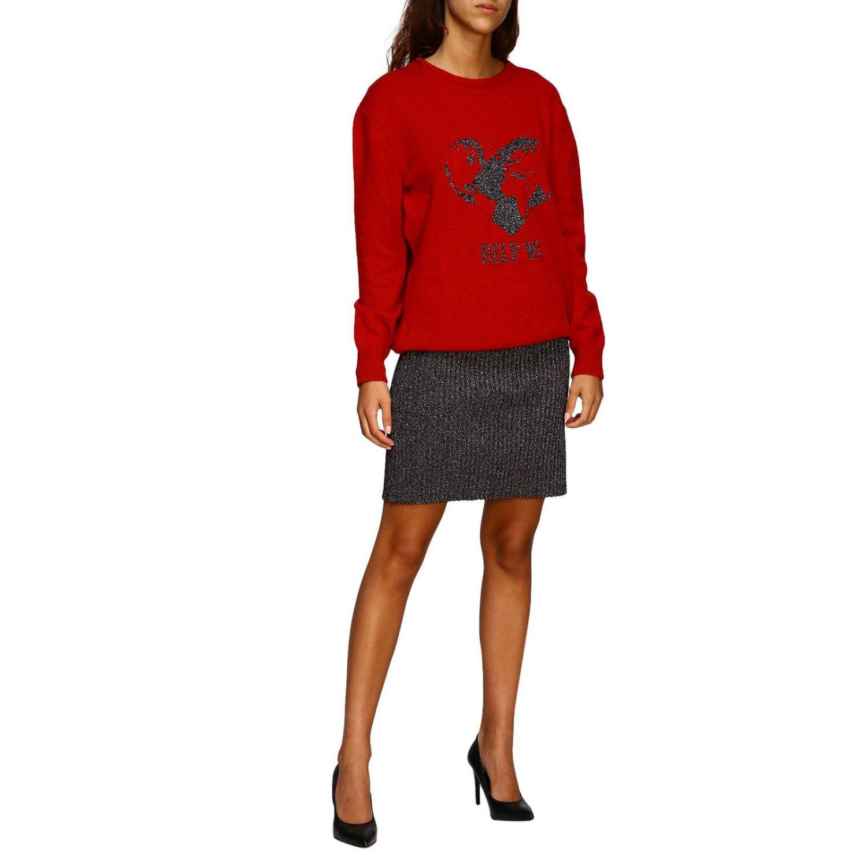 Sweater Alberta Ferretti: Alberta Ferretti crew-neck pullover with lurex embroidery help me red 2