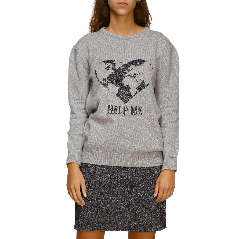 毛衣 Alberta Ferretti: Alberta Ferretti 金银丝刺绣圆领毛衣 灰色 1