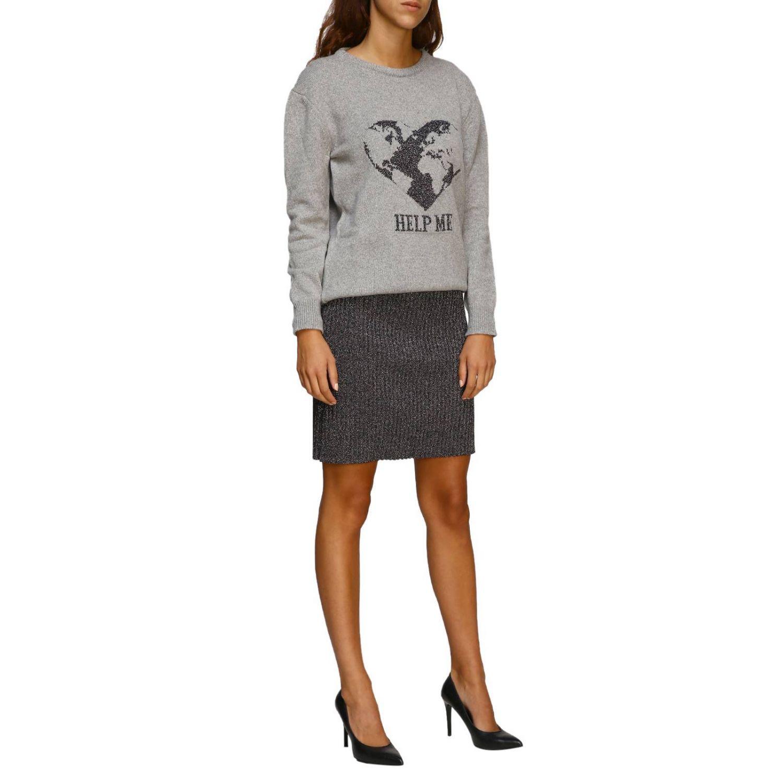 毛衣 Alberta Ferretti: Alberta Ferretti 金银丝刺绣圆领毛衣 灰色 2