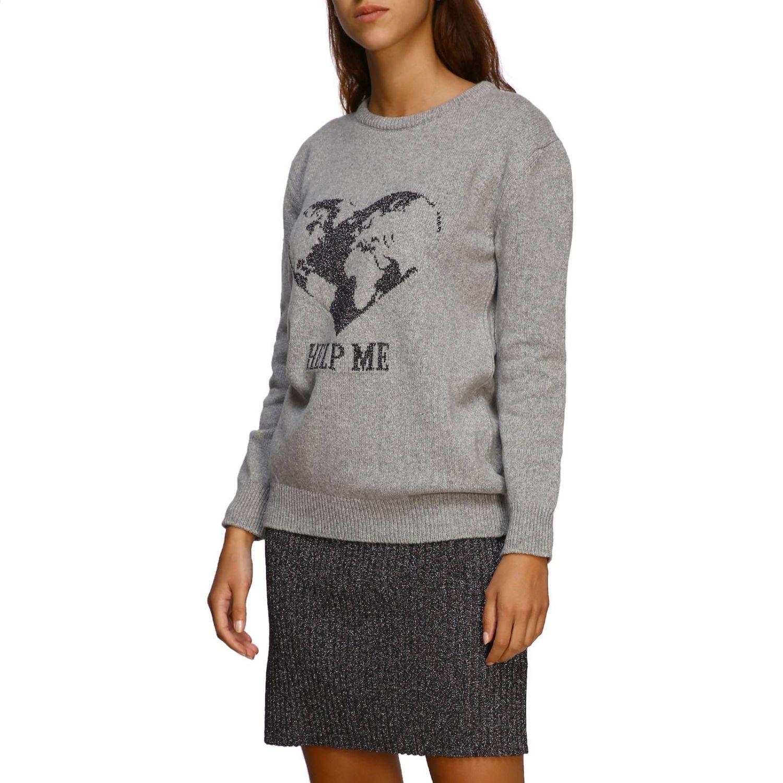 毛衣 Alberta Ferretti: Alberta Ferretti 金银丝刺绣圆领毛衣 灰色 4