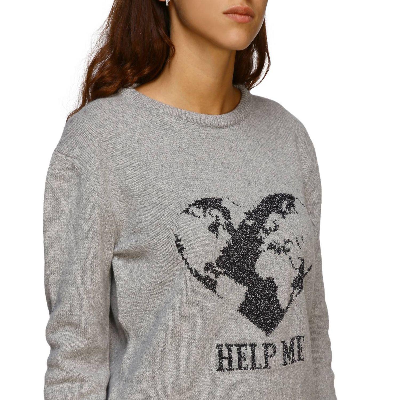 毛衣 Alberta Ferretti: Alberta Ferretti 金银丝刺绣圆领毛衣 灰色 5