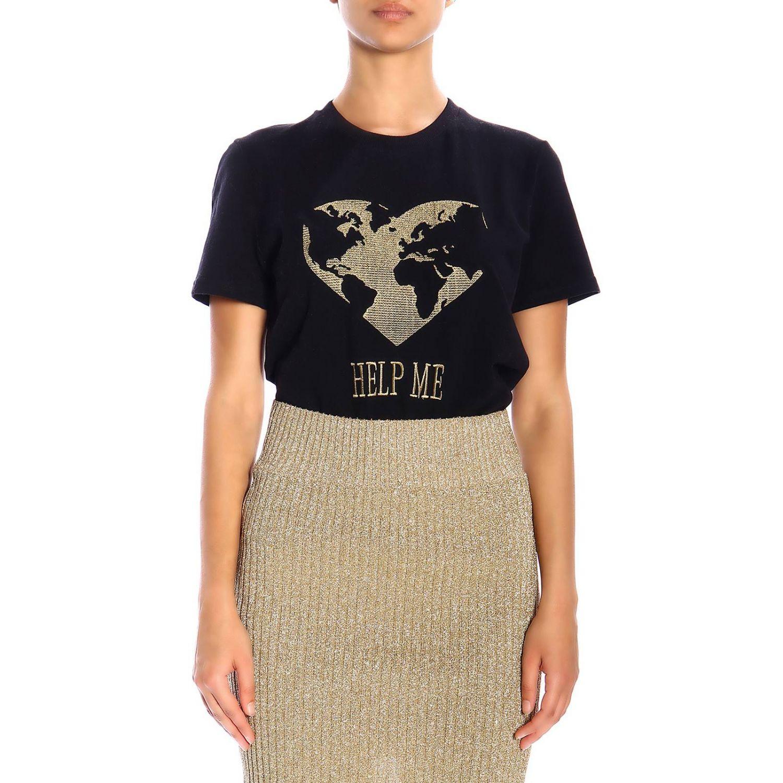 T恤 Alberta Ferretti: Alberta Ferretti 金银丝刺绣短袖T恤 黑色 1