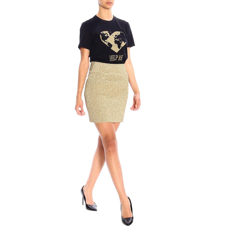 T恤 Alberta Ferretti: Alberta Ferretti 金银丝刺绣短袖T恤 黑色 2