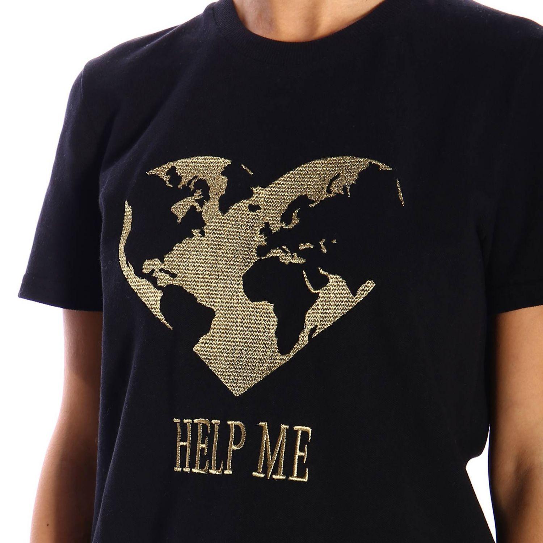T恤 Alberta Ferretti: Alberta Ferretti 金银丝刺绣短袖T恤 黑色 4
