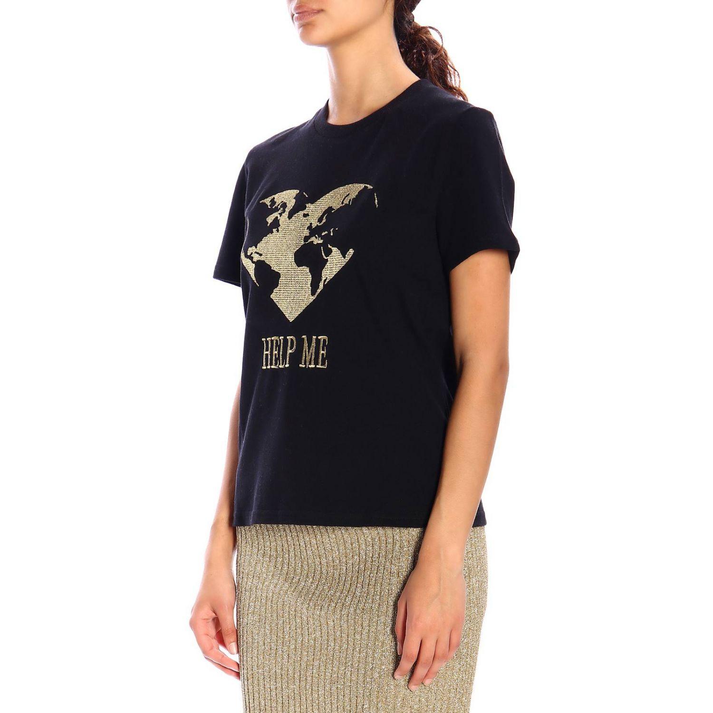 T恤 Alberta Ferretti: Alberta Ferretti 金银丝刺绣短袖T恤 黑色 5