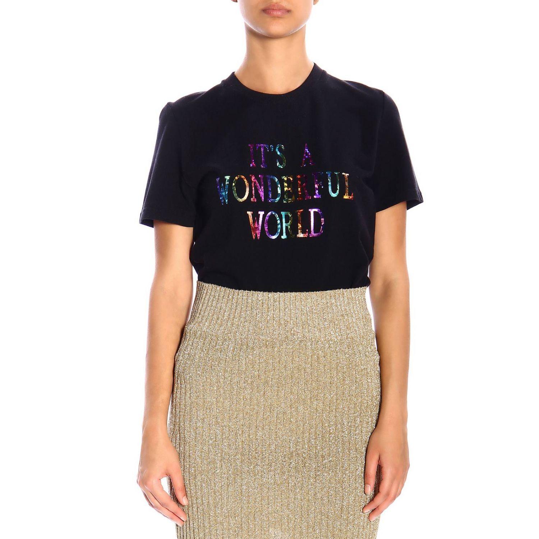"""T恤 Alberta Ferretti: Alberta Ferretti """"it's a wonderful world""""印花短袖T恤 黑色 1"""