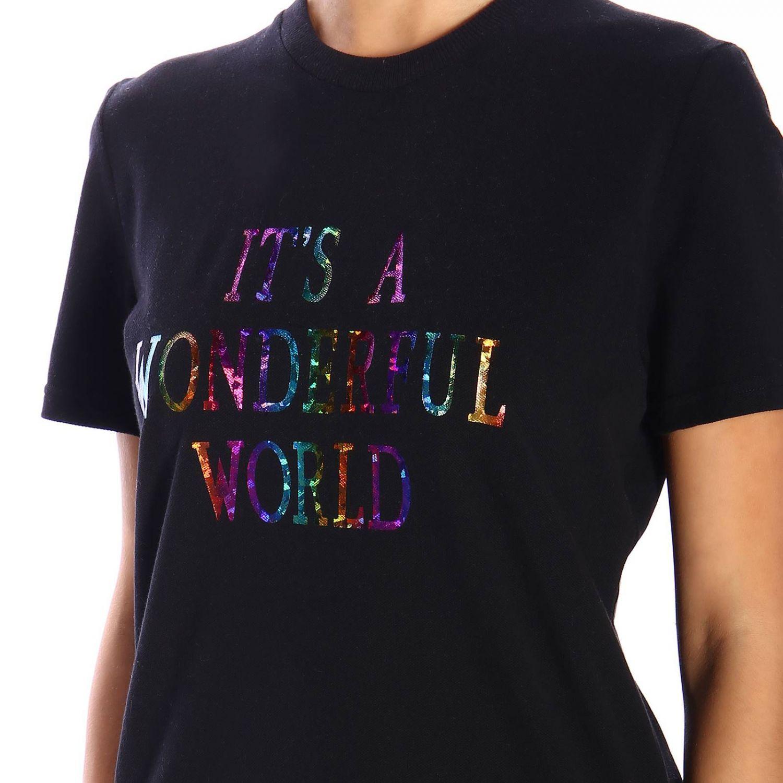 """T恤 Alberta Ferretti: Alberta Ferretti """"it's a wonderful world""""印花短袖T恤 黑色 4"""