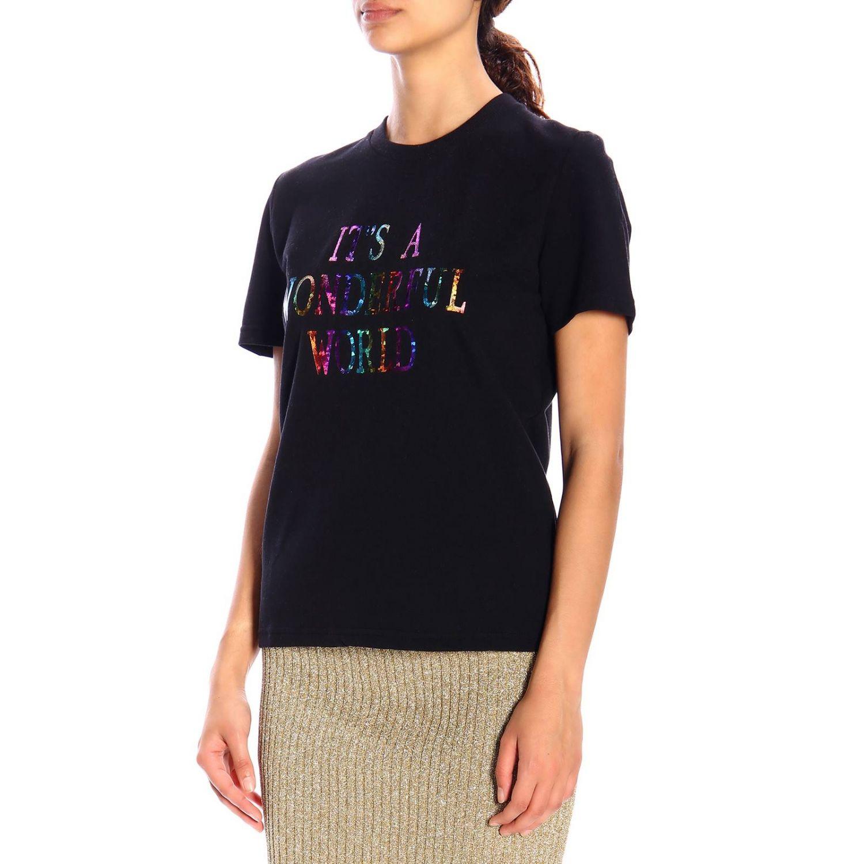 """T恤 Alberta Ferretti: Alberta Ferretti """"it's a wonderful world""""印花短袖T恤 黑色 5"""