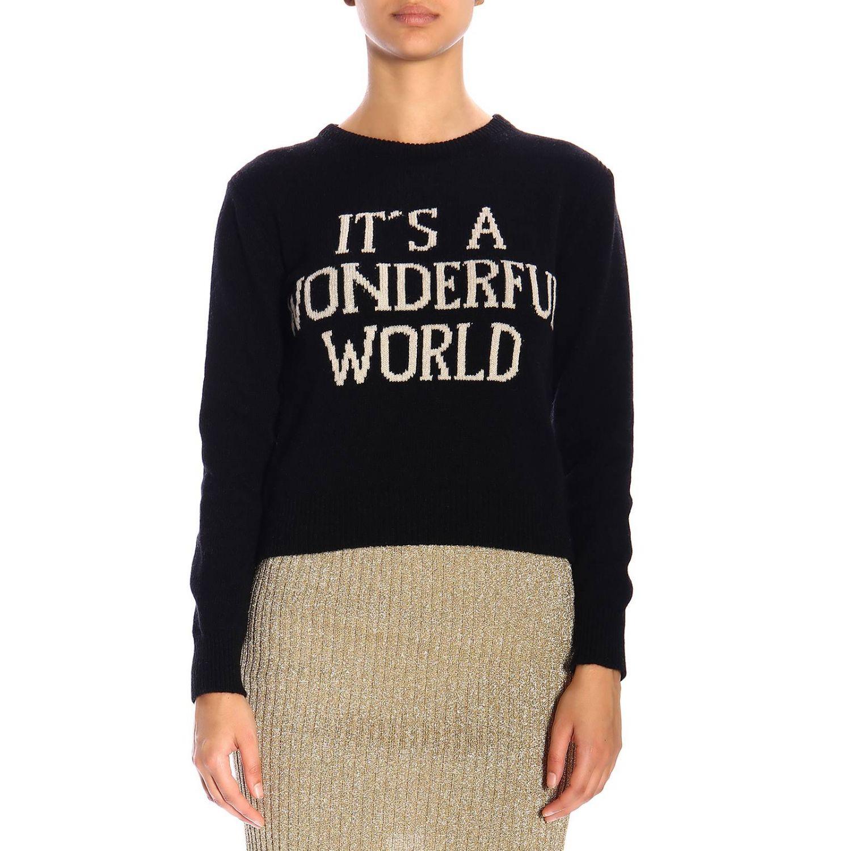 """Alberta Ferretti """"it's a wonderful world""""印花圆领毛衣 黑色 1"""