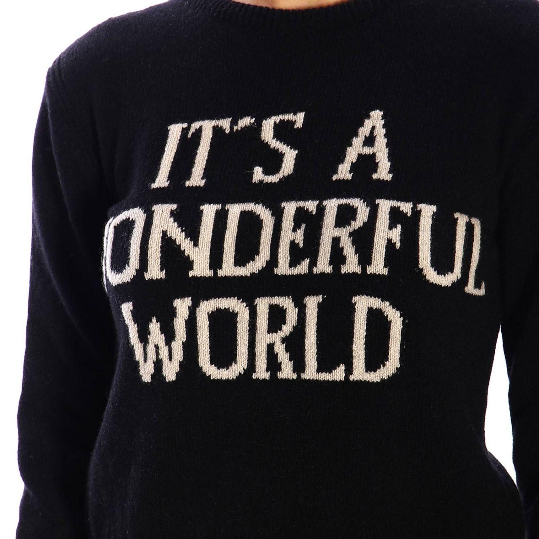 """Alberta Ferretti """"it's a wonderful world""""印花圆领毛衣 黑色 4"""