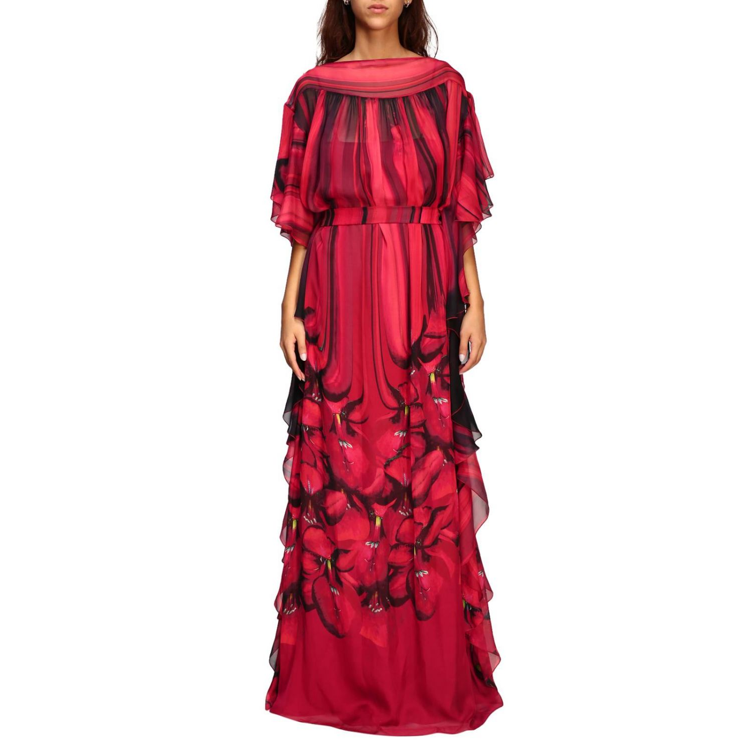 Dress Alberta Ferretti: Alberta Ferretti long dress with floral pattern with rouches red 1