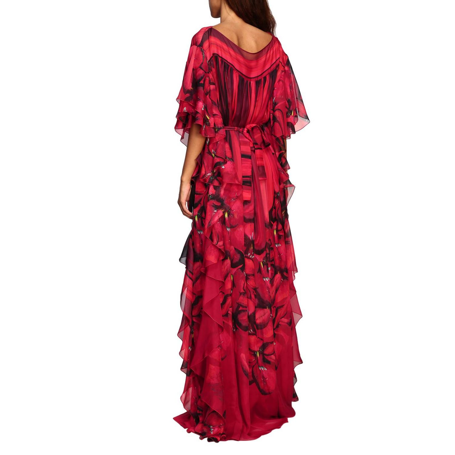 Dress Alberta Ferretti: Alberta Ferretti long dress with floral pattern with rouches red 2