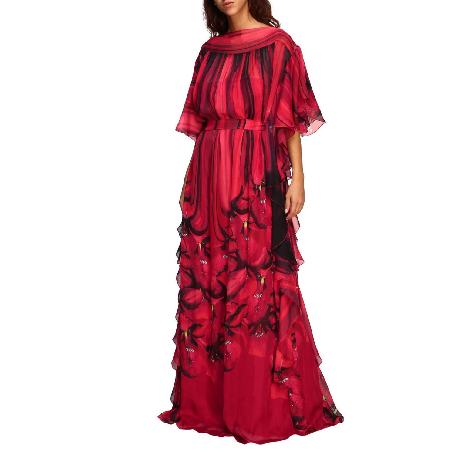 Dress Alberta Ferretti: Alberta Ferretti long dress with floral pattern with rouches red 3