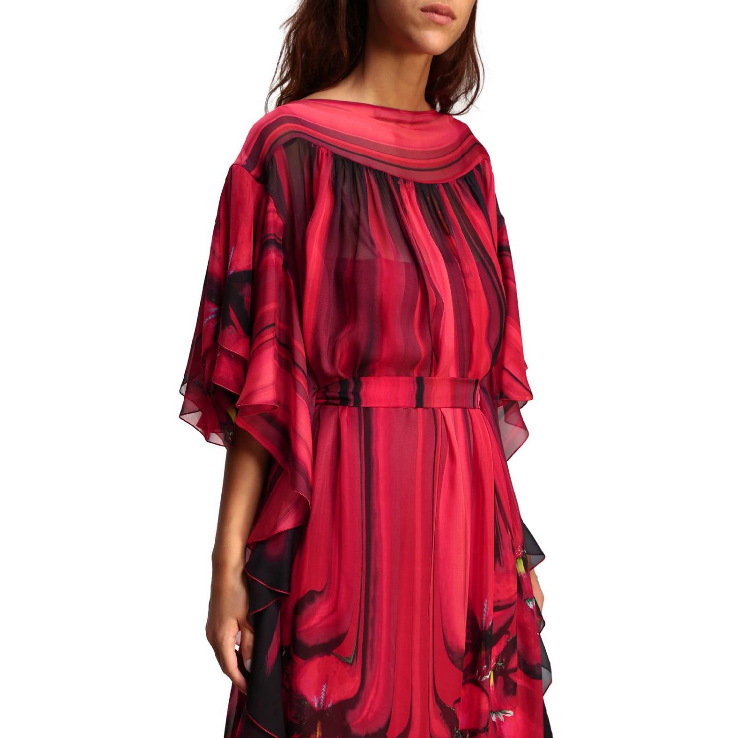 Dress Alberta Ferretti: Alberta Ferretti long dress with floral pattern with rouches red 4