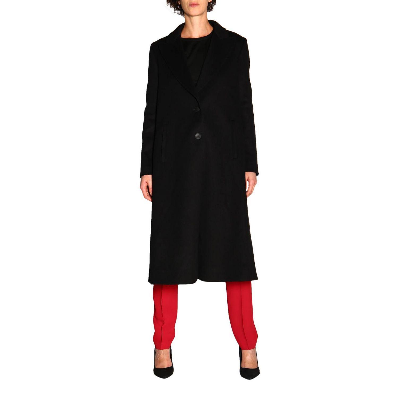 Пальто Alberta Ferretti: Пальто Alberta Ferretti с боковыми вырезами черный 1