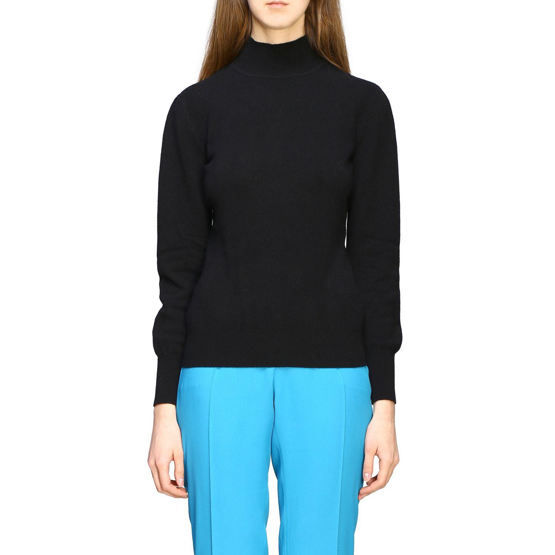 Jersey Alberta Ferretti: Jersey de cuello alto de lana Alberta Ferretti negro 1