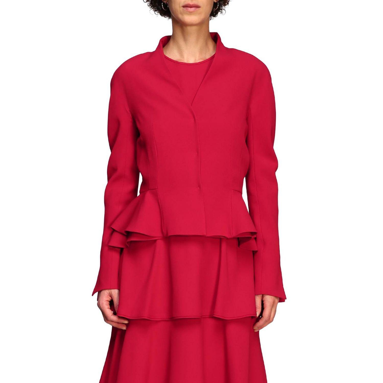 Куртка Alberta Ferretti: Блейзер Alberta Ferretti из шелка с обрамлением из рюшей рубиновый 1