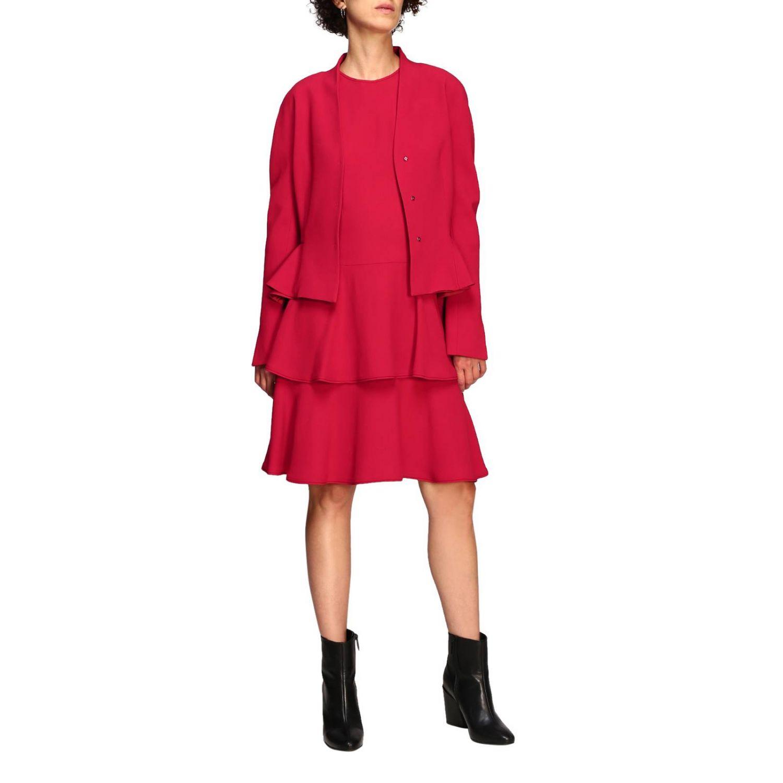 Куртка Alberta Ferretti: Блейзер Alberta Ferretti из шелка с обрамлением из рюшей рубиновый 2
