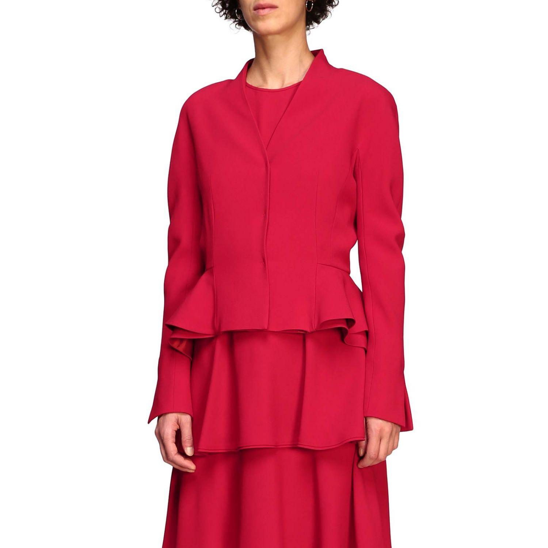 Куртка Alberta Ferretti: Блейзер Alberta Ferretti из шелка с обрамлением из рюшей рубиновый 4