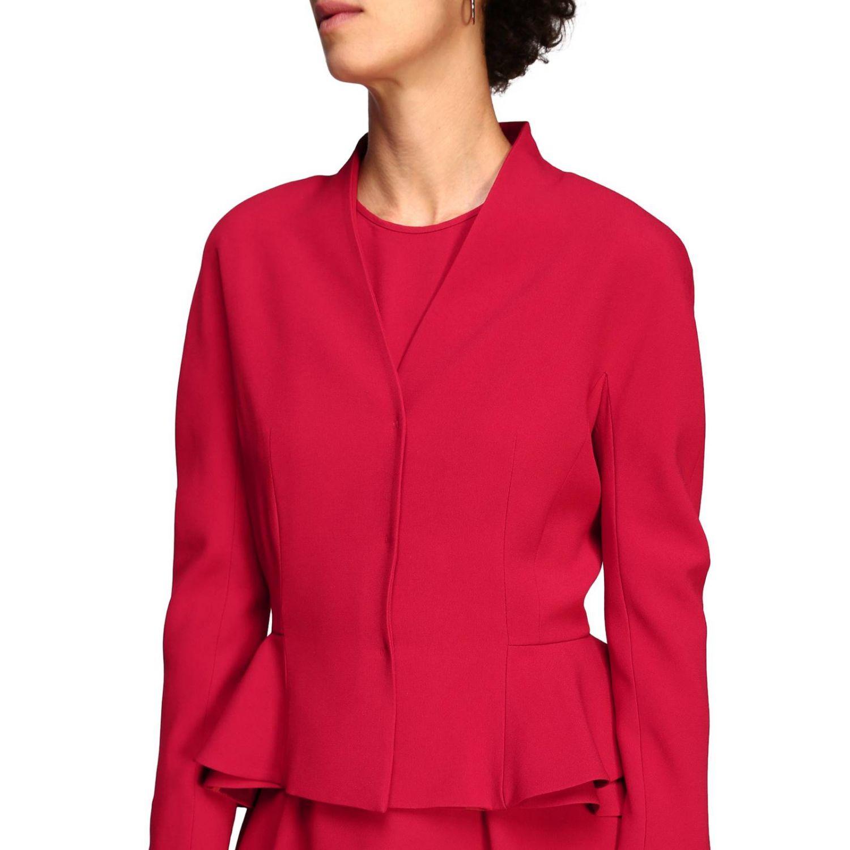 Куртка Alberta Ferretti: Блейзер Alberta Ferretti из шелка с обрамлением из рюшей рубиновый 5