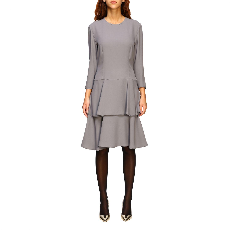 连衣裙 Alberta Ferretti: Alberta Ferretti 下半身褶边连衣裙 珍珠色 1