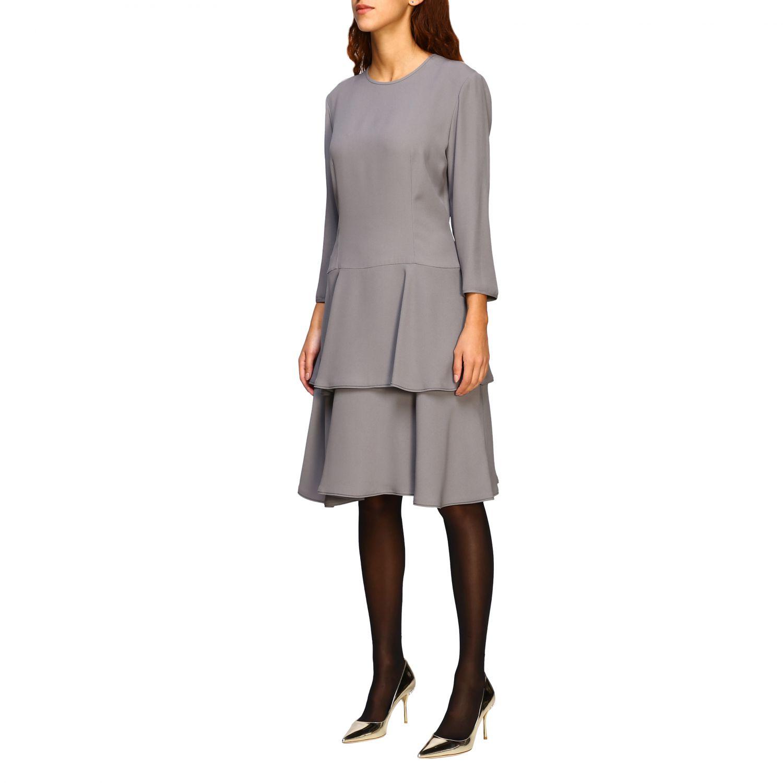 连衣裙 Alberta Ferretti: Alberta Ferretti 下半身褶边连衣裙 珍珠色 4