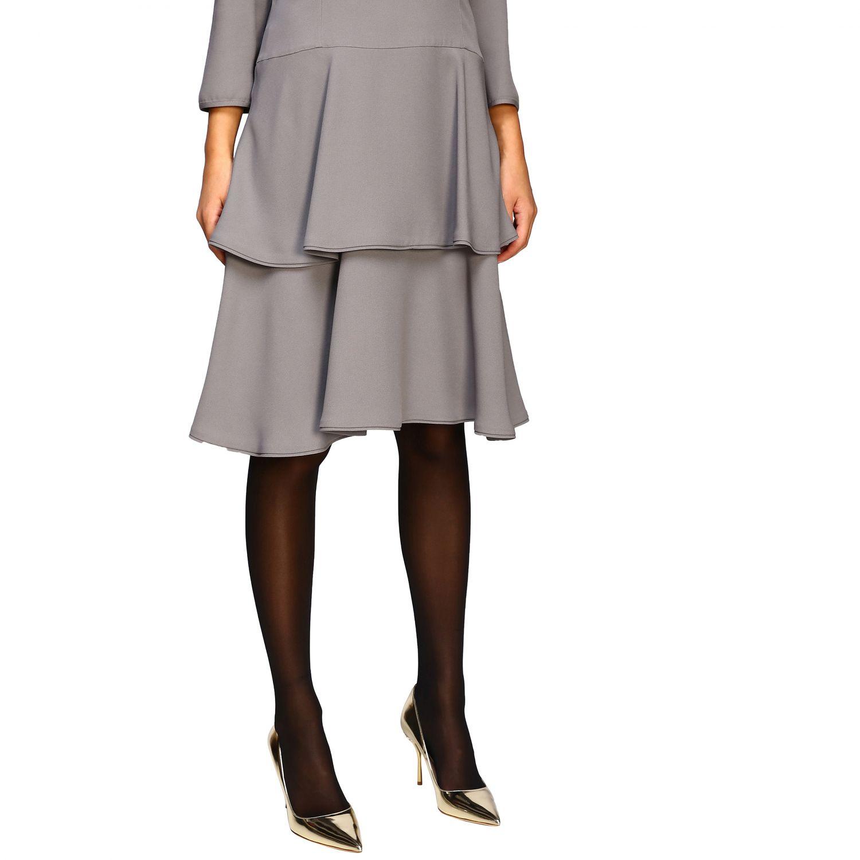 连衣裙 Alberta Ferretti: Alberta Ferretti 下半身褶边连衣裙 珍珠色 5